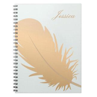 Cadernos Arte cor-de-rosa elegante da pena do ouro