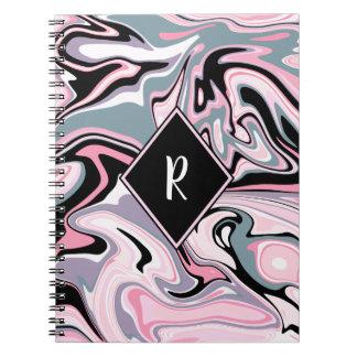 Cadernos Azul preto roxo cor-de-rosa de mármore colorido