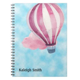 Cadernos Balão de ar quente branco vermelho personalizado