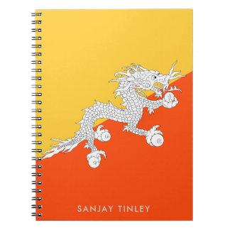 Cadernos Bandeira nacional de Bhutan com nome do monograma