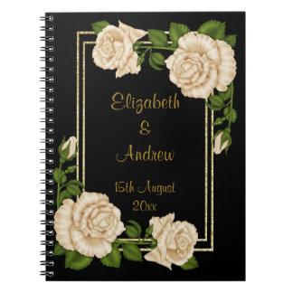 Cadernos Buquês de canto chiques elegantes dos rosas do
