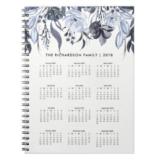 Cadernos Calendário 2018 floral escuro da aguarela |
