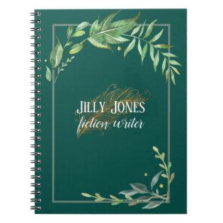 Cadernos Caneta da pena & quadro frondoso no verde Spruce