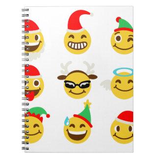 Cadernos caras felizes do emoji do xmas