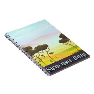 Cadernos Cartaz do viagem da paisagem de Siracusa Italia