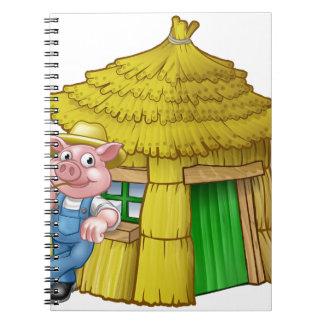 Cadernos Casa pequena da palha do conto de fadas de três
