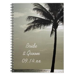 Cadernos Casamento de praia da silhueta da palmeira