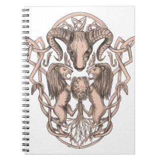 Cadernos Céltico Knotwo da brasão da árvore do leão dos