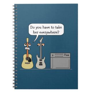 Cadernos Cena dos desenhos animados da roda da guitarra