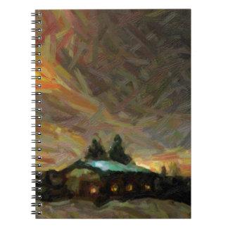 Cadernos cena nórdica abstrata do inverno