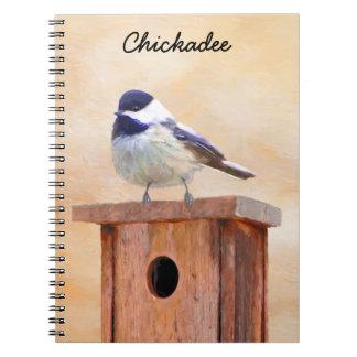Cadernos Chickadee na pintura do Birdhouse - pássaro