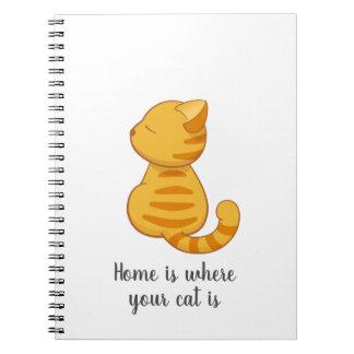 Cadernos Citações alaranjadas bonitos do gato de gato
