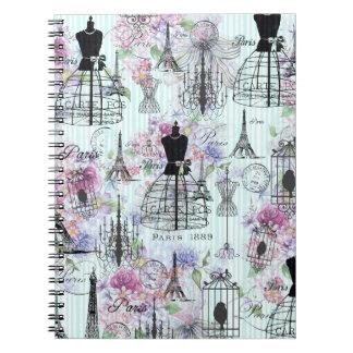 Cadernos Colagem floral do manequim da torre Eiffel do