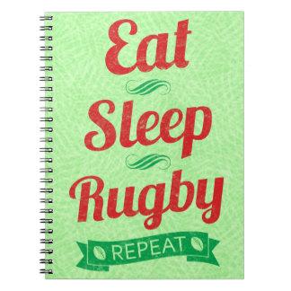 Cadernos Coma o bloco de notas da repetição do rugby do