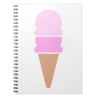 Cadernos Cone dobro do sorvete da colher - rosa
