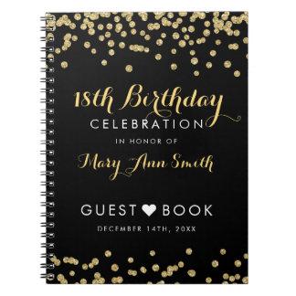 Cadernos Confetes Blac do brilho do ouro do aniversário do