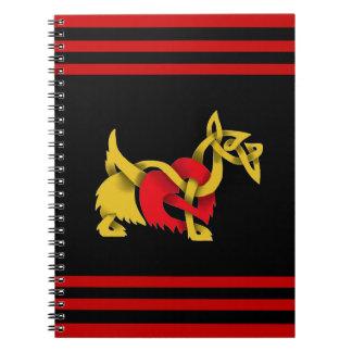 Cadernos Coração preto do céltico da silhueta de Terrier do