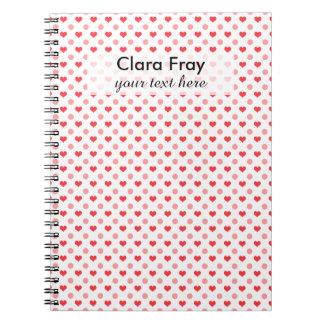 Cadernos corações vermelhos elegantes e teste padrão de