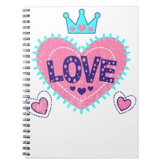 Cadernos Coroa e corações do amor