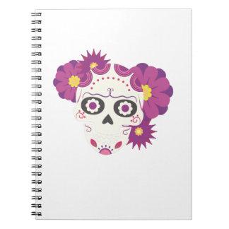 Cadernos Crânios o Dia das Bruxas feliz da flor do açúcar