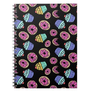 Cadernos Cupcakes e rosquinhas da sobremesa