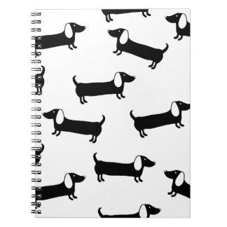 Cadernos Dachshunds em preto e branco
