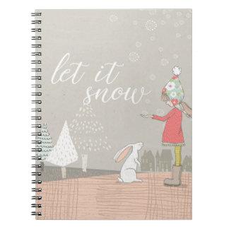 Cadernos Deixais lhe para nevar menina e coelho