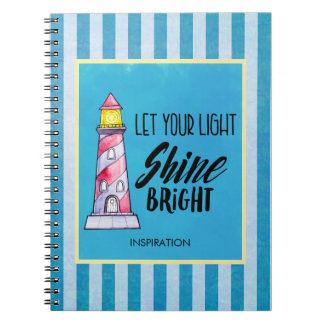 Cadernos Deixe sua tipografia brilhante do farol do brilho