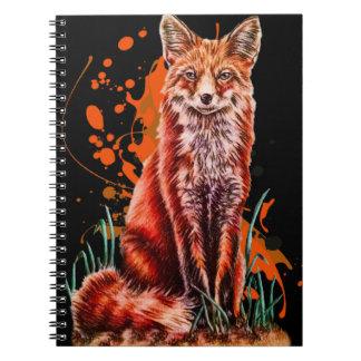 Cadernos Desenho da arte animal vermelha do Fox e da