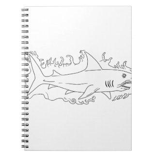 Cadernos Desenho do lado da água do tubarão