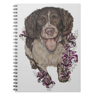 Cadernos Desenho do Spaniel com lírios