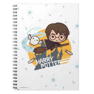 Cadernos Desenhos animados Harry e vôo de Hedwig após
