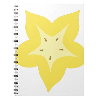 Cadernos design da fruta de estrela bonito