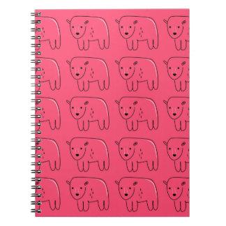 Cadernos Design doce cor-de-rosa pintado ursinhos