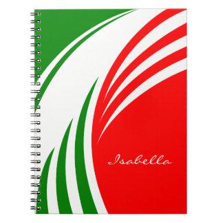 Cadernos Design italiano da bandeira de Italia com suas