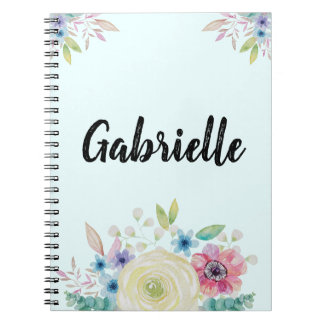 Cadernos Design personalizado da flor da aguarela