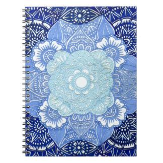 Cadernos Design tonificado azul da serenidade