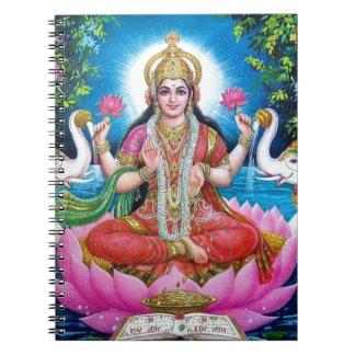 Cadernos Deusa de Lakshmi de amor, de prosperidade, e de
