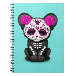 Cadernos Dia cor-de-rosa da pantera preta inoperante Cub