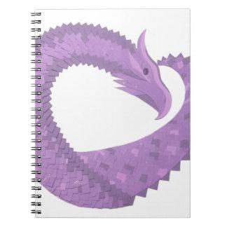 Cadernos Dragão do coração roxo da lavanda no branco