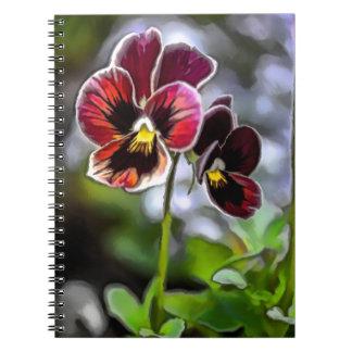 Cadernos Duo da flor do amor perfeito do Bordéus