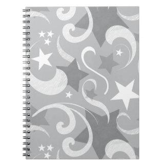 Cadernos Elegante, cinzento, estrelas, branco, redemoinho,