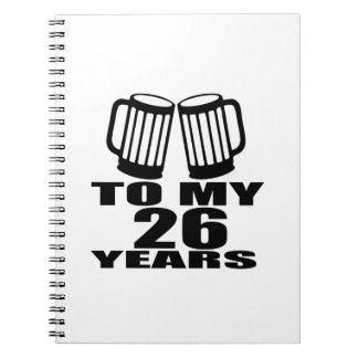 Cadernos Elogios a meus 26 anos do aniversário