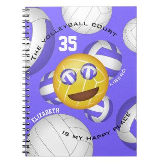 Cadernos Emoji feliz do vball do smiley do lugar da corte