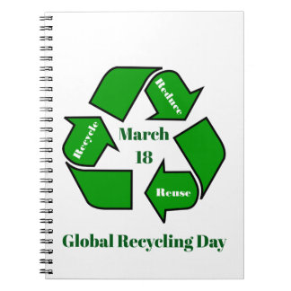Cadernos Espiral 18 de março, design global do dia do reciclagem