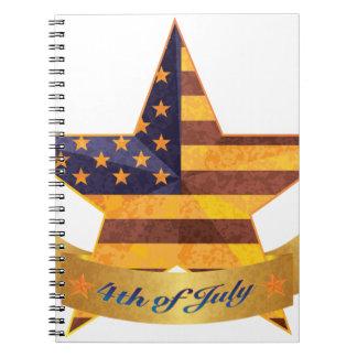 Cadernos Espiral 4o da bandeira e da estrela de julho com textura