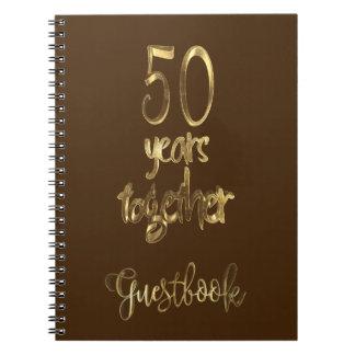 Cadernos Espiral 50th Texto do ouro do livro de hóspedes do