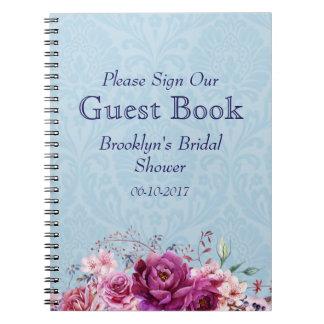 Cadernos Espiral A-1 rosa, livro de hóspedes floral do chá de