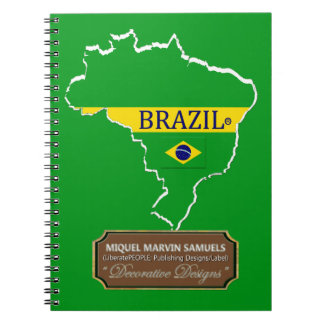 Cadernos Espiral A bandeira do esboço do país de Brasil colore o
