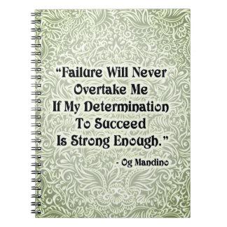 Cadernos Espiral A falha nunca alcançará - Quote´s positivo